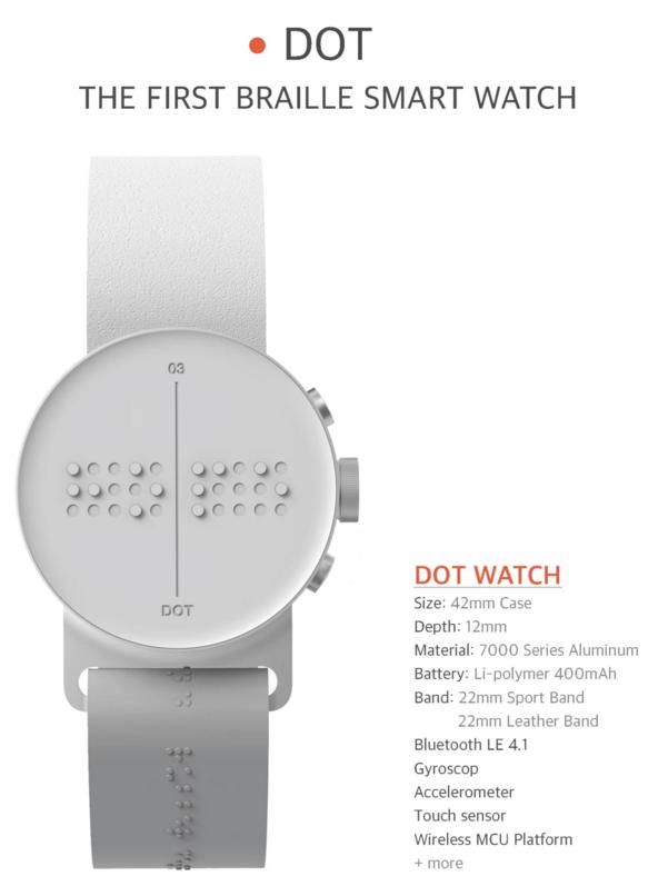 Spécification de la montre braille dot olga phone
